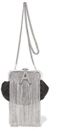 Crystal-embellished Satin Shoulder Bag - Black