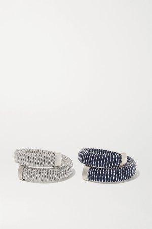 Silver Caro set of two white gold-plated and cotton bracelets   Carolina Bucci   NET-A-PORTER