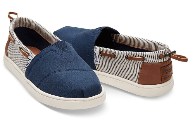 Navy Canvas Stripes Youth Biminis | TOMS®