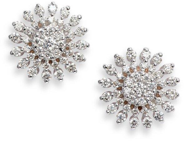 Diamond Sunburst Stud Earrings