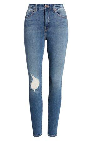 Good American Good Waist High Waist Ankle Skinny Jeans (Blue) (Regular & Plus Size) | Nordstrom