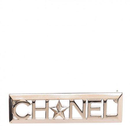CHANEL Star Logo Brooch Gold 445472