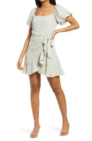 Row A Floral Ditsy Puff Sleeve Faux Wrap Minidress | Nordstrom