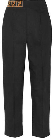 Jacquard Knit-trimmed Twill Straight-leg Pants - Black