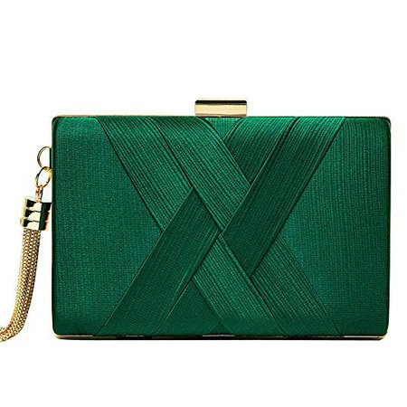Women's Evening Clutch Bag Stain Fabric Bridal Purse for Wedding Prom Night out Party (Green): Handbags: Amazon.com
