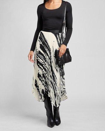 High Waisted Pleated Brushstroke Midi Skirt