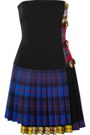 Versace | Buckled paneled tartan wool-blend mini dress | NET-A-PORTER.COM