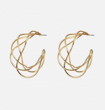 Gold Wire Hoop Earrings