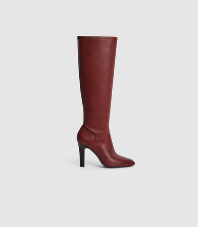 Cressida Bordeaux Leather Knee High Boots – REISS