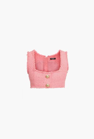 Cropped lavender wool top with gold-tone buttons