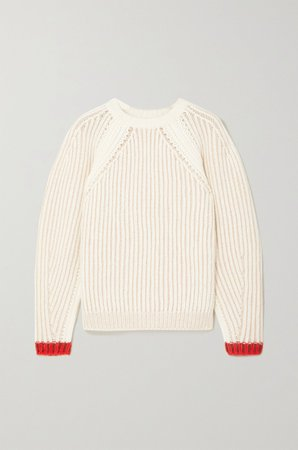 White Ribbed wool-blend sweater | Chloé | NET-A-PORTER