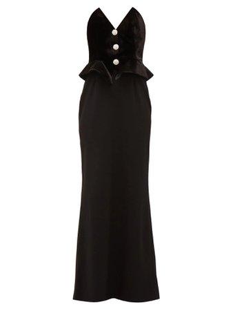 ALESSANDRA RICH  Strapless velvet and wool-blend peplum dress