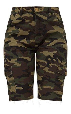 Camouflage Mid Length Denim Shorts   PrettyLittleThing USA