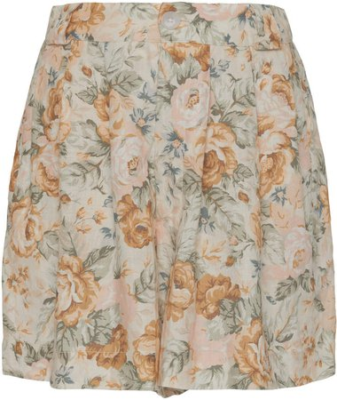 Ephemera Citrus Floral-Print Linen Shorts