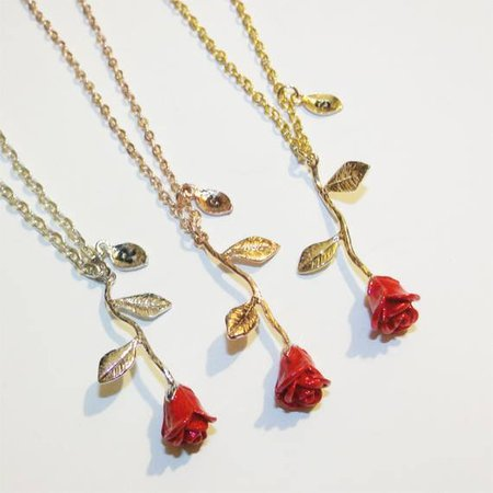 Beauty and the Beast Rose Necklace Red Rose Flower Necklace