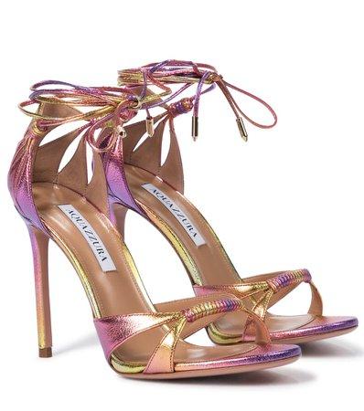Aquazzura - Sole 105 leather sandals | Mytheresa
