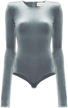 velvet padded shoulder bodysuit