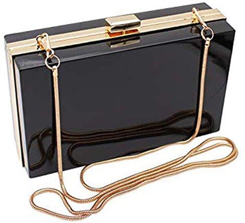 L-COOL Cute Acrylic Shoulder Bag Cross-body Bag Evening Clutch Handbag With Gold Snake Chain(2 Chains) Shoulder Strap For Women (Black): Handbags: Amazon.com