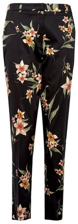 **Tall Black Floral Print Ankle Grazer Trousers