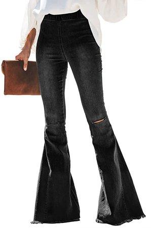 Sidefeel Women Destoryed Flare Jeans Elastic Waist Bell Bottom Tassel Denim Pants Small Black at Amazon Women's Jeans store