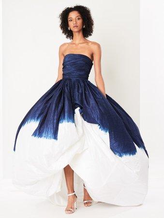 Blue Dip-Dyed Silk-Taffeta Gown
