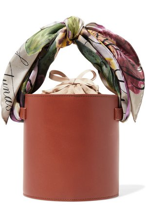 Montunas | Isla satin-trimmed leather and linen tote | NET-A-PORTER.COM