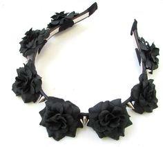 Black Rose Silver Spike Flower Headband Halloween Sugar Skull Pastel Goth