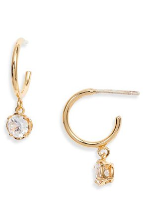 kate spade new york mini stone huggie hoop earrings | Nordstrom