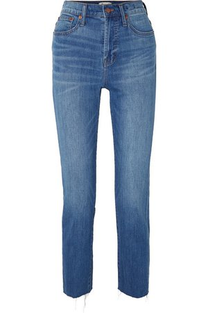 Madewell | The Perfect Summer frayed high-rise slim-leg jeans | NET-A-PORTER.COM