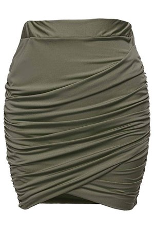 Zeagoo Women Wrap Runched Stretch Draped Mini Pleated Bodycon Pencil Skirt at Amazon Women's Clothing store: