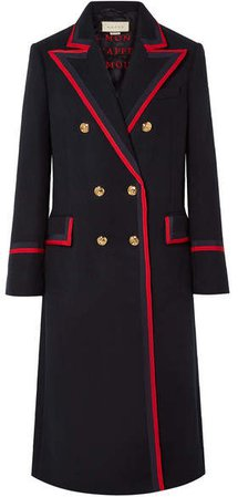 Grosgrain-trimmed Wool-blend Coat - Navy