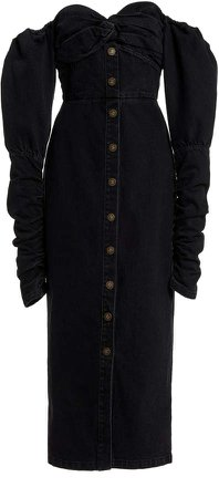 Zeynep Arcay Puffed Sleeve Denim Dress