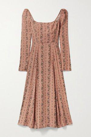 Sigmund Shirred Floral-print Georgette Midi Dress - Antique rose