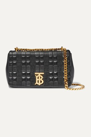Small Quilted Leather Shoulder Bag - Black
