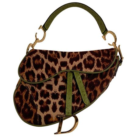 Iconic Christian Dior Leopard Print Saddle Bag with Gold-tone Logo Hardware For Sale at 1stdibs