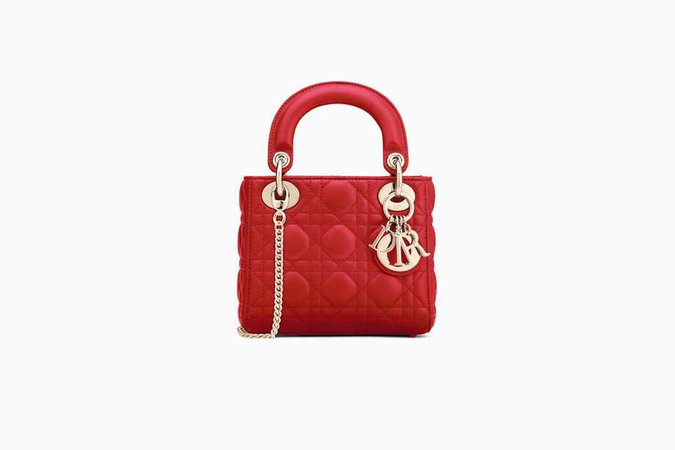 """Mini Lady Dior bag with chain in red """"Cannage"""" lambskin - Dior"""
