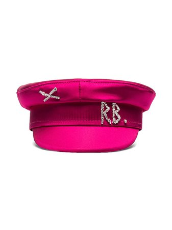 Ruslan Baginskiy Crystal-Embellished Satin Baker Boy Hat Ss20   Farfetch.com
