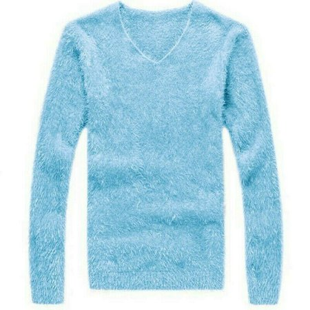 Men Faux Mohair Sweater Jumper Pullover Tops V Neck Fluffy Knitwear Winter Solid   eBay