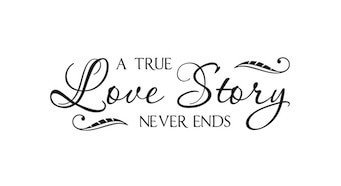"""Wall Sticker """" A True Love Story Never End """" Vinyl Lettering Decor Family Wedding Sticker Quote-in Wall Stickers from Home & Garden on AliExpress"""