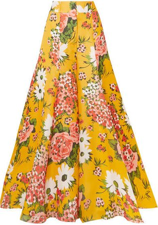 Floral-print Silk-organza Wide-leg Pants - Yellow