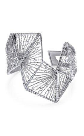 White Gold and White Diamond Angular Bracelet by Mike Joseph   Moda Operandi