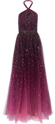 Pleated Glitter-embellished Degrade Halterneck Gown