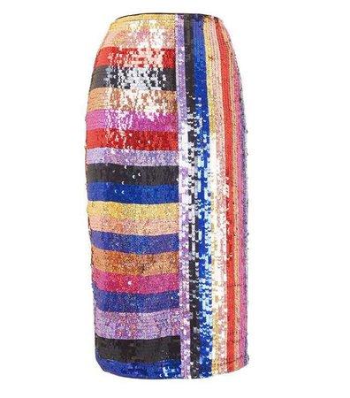 Rainbow Sequin Midi Skirt