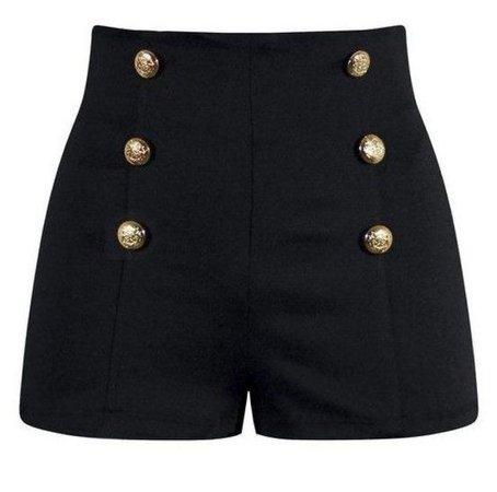 black gold button shorts