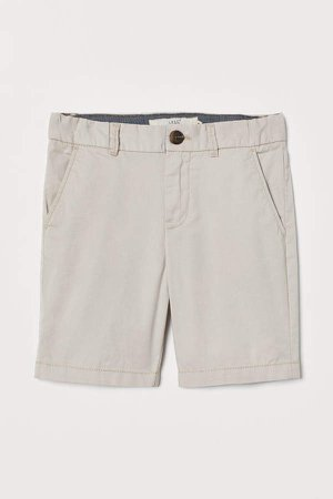 Cotton Chino Shorts - Beige
