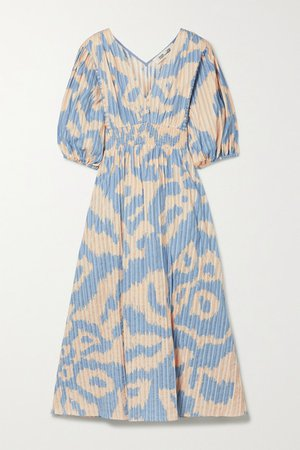 Freda Leopard-print Cotton-jacquard Midi Dress - Blue