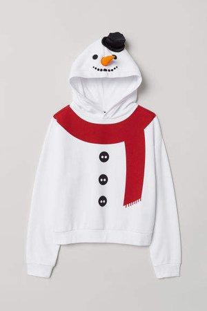 Printed Hooded Sweatshirt - White