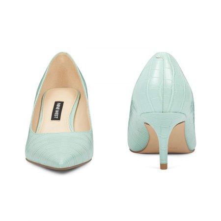 Arlene Pointy Toe Pumps - Light Green Embossed Croco | Women Shoes & Handbags for Women