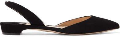 Rhea Suede Point-toe Flats - Black