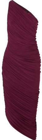 Diana One-shoulder Ruched Stretch-jersey Dress - Purple